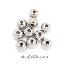 Бусина металлическая круглая 6мм, сталь, 20шт