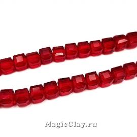 Бусины Кубики Рубиновый 4мм, 1нить (~95шт)