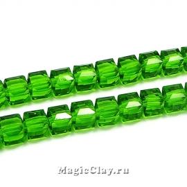 Бусины Кубики Зеленый Лес 6мм, 1нить (~45шт)