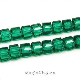 Бусины Кубики Малахит 6мм, 1нить (~45шт)