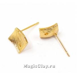 Швензы гвоздики Ромб 12х12мм, Real Gold, 1пара