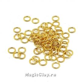 Колечки разъемные 4х0,6мм, сталь, цвет золото, 1уп (~100шт)