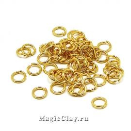 Колечки разъемные 5х0,8мм, сталь, цвет золото, 6гр (~110шт)