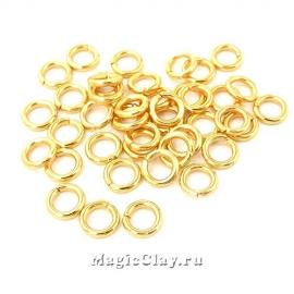 Колечки разъемные 5х1мм, сталь, цвет золото, 7гр (~90шт)
