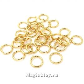 Колечки разъемные 6х0,8мм, сталь, цвет золото, 7гр (~105шт)