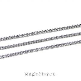 Цепочка Панцирная, звенья 2,5х1,6мм, цвет черная сталь, 2м