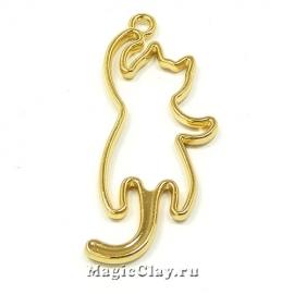 Рамка для кулона Кошка 47х19мм, цвет золото, 1шт