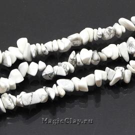 Бусины Говлит белый, крошка 4~10х4~6мм, 1нить (~210шт)
