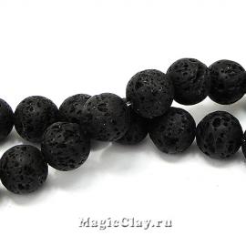 Бусины Лава черный, 12мм, 1нить (~30шт)