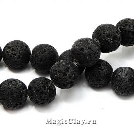 Бусины Лава черный, 14мм, 1нить (~14шт)