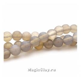 Бусины Агат серый, гладкий 6 мм, 1 нить (~60шт)