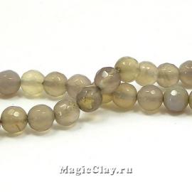 Бусины Агат серый, граненый 6 мм, 1 нить (~61шт)