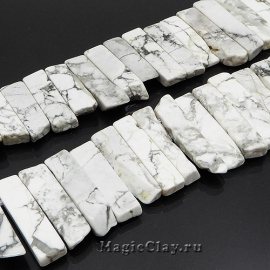Бусины Говлит белый, палочки 20~65х7~15мм, 6шт