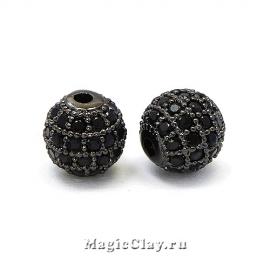 Бусина Круглая 6мм, Милано, цвет черная сталь, 1шт