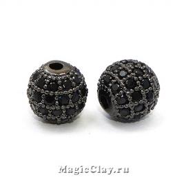 Бусина Круглая 8мм, Милано, цвет черная сталь, 1шт