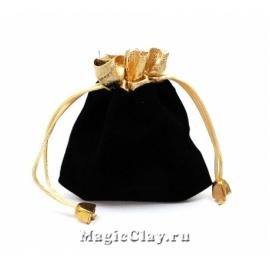 Сумочка подарочная из бархата 12х9см, цвет Черный с золотом