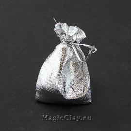 Сумочка подарочная 7х5см, цвет серебро