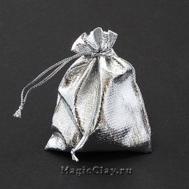 Сумочка подарочная 9х7см, цвет серебро