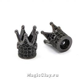 Бусина Корона 12х10мм, Милано, цвет черная сталь, 1шт