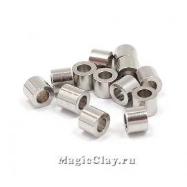 Бусина металлическая Цилиндр 3х2мм, сталь, 20шт