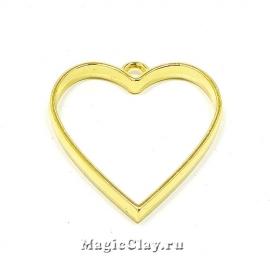 Рамка для кулона Сердце 34х30мм, цвет золото, 1шт