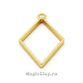 Рамка для кулона Ромб 40х25мм, цвет золото матовое, 1шт