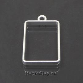 Рамка для кулона Прямоугольник 33х21мм, цвет серебро, 1шт