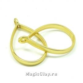 Рамка для кулона Капля 33х20мм, цвет золото матовое, 1шт