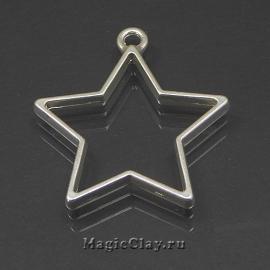 Рамка для кулона Звезда 35х32мм, цвет серебро, 1шт