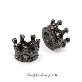 Бусина Корона 11х7мм, Милано, цвет черная сталь, 1шт