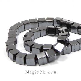 Бусины Гематит Куб 6х6мм, цвет черный, 1нить (~68шт)