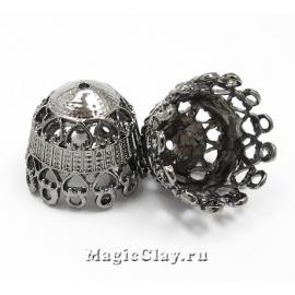 Шапочка для бусины Прованс 23х19мм, цвет черная сталь, 1шт