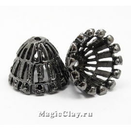 Шапочка для бусины Фьюжн 18х13мм, цвет черная сталь, 1шт