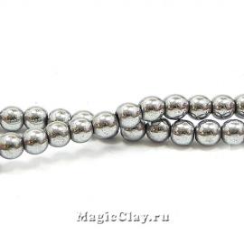 Бусины Гематит 4мм, цвет серебро, 1нить (~95-100шт)