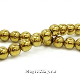 Бусины Гематит 8мм, цвет золото, 1нить (~51шт)