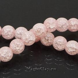 Бусины Кварц сахарный синтет. 10мм, Розовый, 1нить (~40шт)