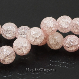 Бусины Кварц сахарный синтет. 12мм, Розовый, 1нить (~16шт)