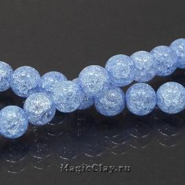 Бусины Кварц сахарный синтет. 8мм, Голубой, 1нить (~50шт)