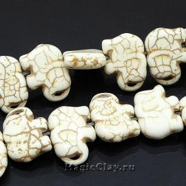 Бусины Говлит синтет. слон 21х16мм, цвет кость, 1нить (~25шт)