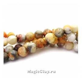 Бусины Агат кружевной, гладкий 6 мм, 1 нить (~58шт)