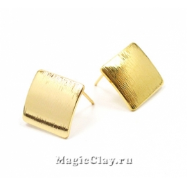 Швензы гвоздики Ромб 17,5х17,5мм, Real Gold, 1пара