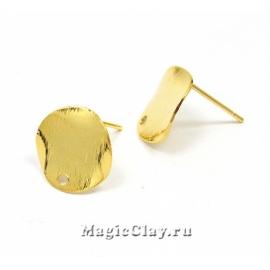 Швензы гвоздики Пластинка 12мм, Real Gold, 1пара