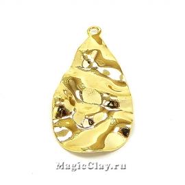 Подвеска Камень Капля 31х17мм, Real Gold, 1шт