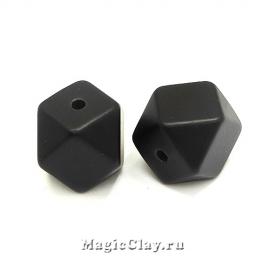 Бусины акриловые Многогранник 19мм, Черный, 1шт