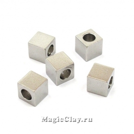 Бусина металлическая Кубик 5х5мм, сталь, 10шт