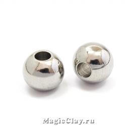 Бусина металлическая круглая 10х8мм, сталь, 1шт