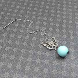 Пример жемчуг майорка Бирюзовый 8 мм в сережках-гвоздиках