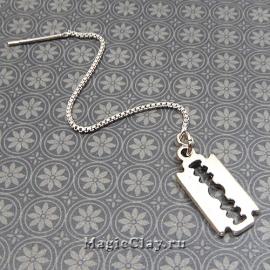 Пример длинные серьги гвоздики на цепочке цвет платина