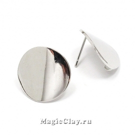 Швензы гвоздики Круг Гладкий 18мм, Real Platinum, 1пара