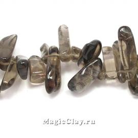 Бусины Кварц дымчатый, крошка 19-6х11-4, 1 нить (~47шт)